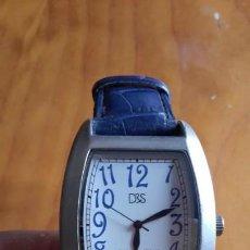 Relojes: RELOJ DE ESFERA RECTANGULAR D&S CON CORREA DE CUERO AZUL. Lote 161179086