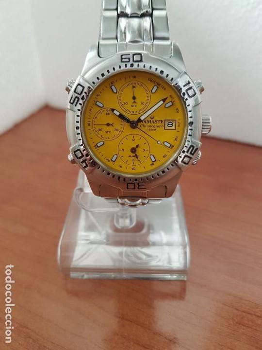 Relojes: Reloj caballero NAMASTE crono alarma de cuarzo acero con esfera amarilla, correa de acero original - Foto 2 - 163472178