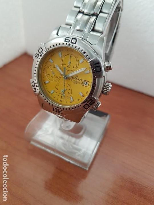 Relojes: Reloj caballero NAMASTE crono alarma de cuarzo acero con esfera amarilla, correa de acero original - Foto 3 - 163472178