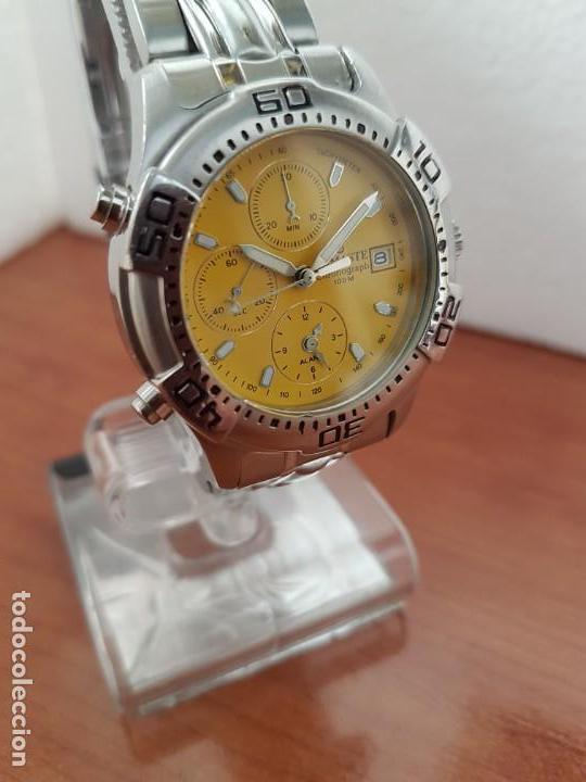 Relojes: Reloj caballero NAMASTE crono alarma de cuarzo acero con esfera amarilla, correa de acero original - Foto 4 - 163472178