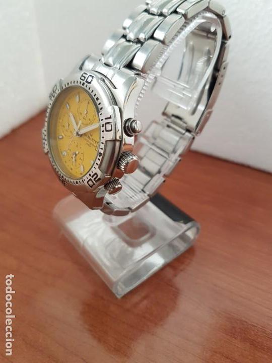 Relojes: Reloj caballero NAMASTE crono alarma de cuarzo acero con esfera amarilla, correa de acero original - Foto 5 - 163472178
