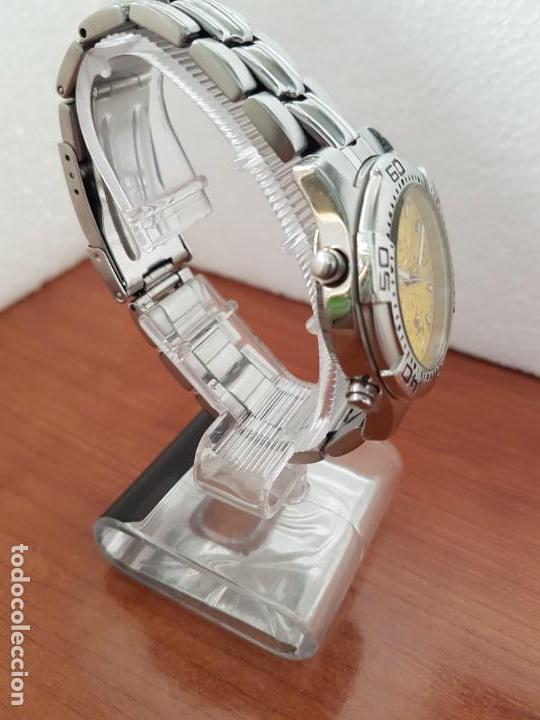Relojes: Reloj caballero NAMASTE crono alarma de cuarzo acero con esfera amarilla, correa de acero original - Foto 6 - 163472178