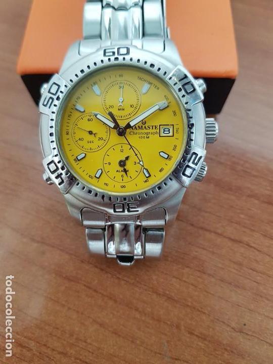 Relojes: Reloj caballero NAMASTE crono alarma de cuarzo acero con esfera amarilla, correa de acero original - Foto 8 - 163472178