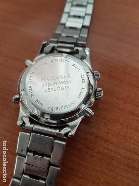 Relojes: Reloj caballero NAMASTE crono alarma de cuarzo acero con esfera amarilla, correa de acero original - Foto 11 - 163472178