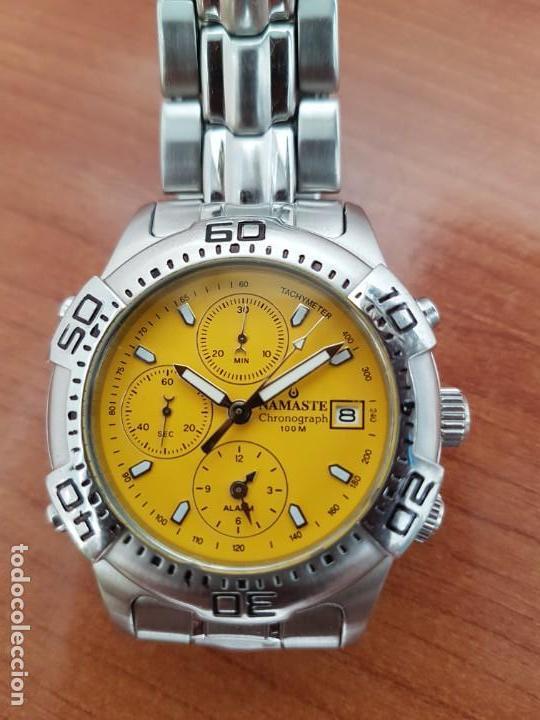 Relojes: Reloj caballero NAMASTE crono alarma de cuarzo acero con esfera amarilla, correa de acero original - Foto 12 - 163472178