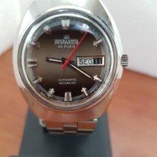 Relojes: RELOJ CABALLERO (VINTAGE) INSA WATCH AUTOMÁTICO CON DOBLE CALENDARIO A LAS TRES, CORREA DE ACERO . Lote 163514306