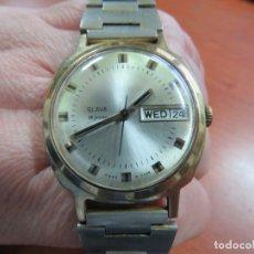 Relojes: BONITO RELOJ DE PULSERA PARA HOMBRE MARCA SLAVA AUTOMATICO DE 26 JOYAS, ACERO Y ORO, FUNCIONA. Lote 167169752