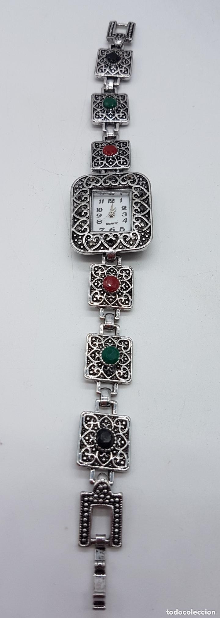 Relojes: Bello reloj de estilo art decó con baño en plata de ley . - Foto 2 - 168064188