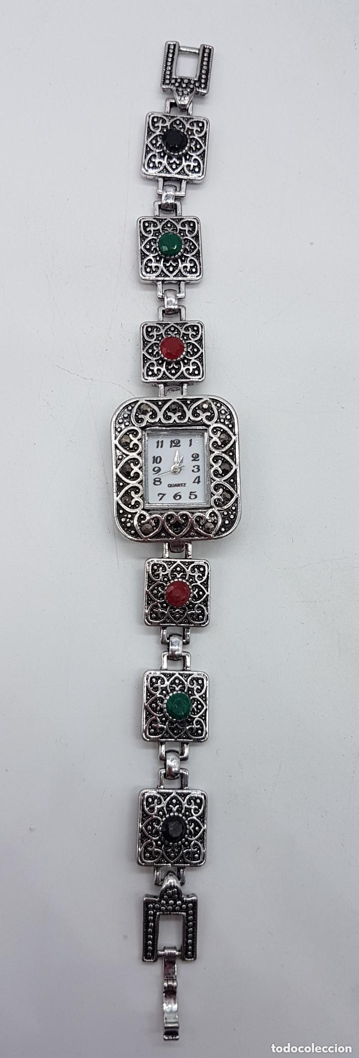 Relojes: Bello reloj de estilo art decó con baño en plata de ley . - Foto 3 - 168064188