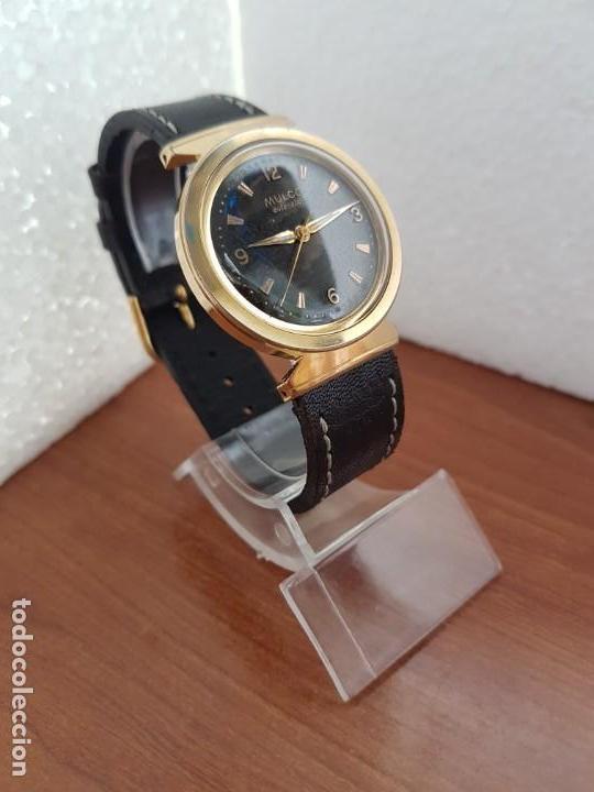 Relojes: Reloj caballero (Vintage) MULCO automático chapado de oro 10 micras, esfera negra, correa de cuero - Foto 3 - 171135540