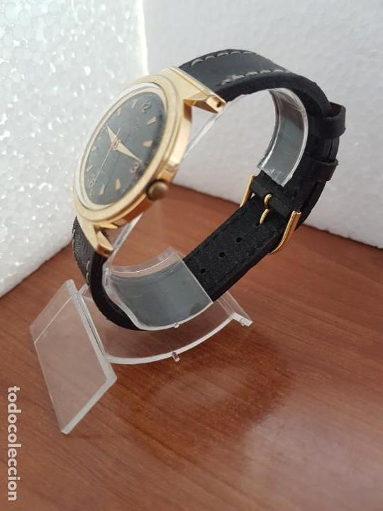 Relojes: Reloj caballero (Vintage) MULCO automático chapado de oro 10 micras, esfera negra, correa de cuero - Foto 4 - 171135540