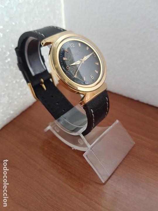 Relojes: Reloj caballero (Vintage) MULCO automático chapado de oro 10 micras, esfera negra, correa de cuero - Foto 5 - 171135540