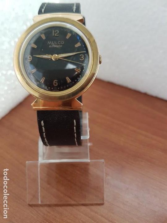 Relojes: Reloj caballero (Vintage) MULCO automático chapado de oro 10 micras, esfera negra, correa de cuero - Foto 7 - 171135540