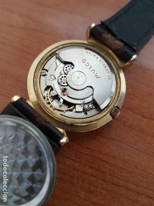 Relojes: Reloj caballero (Vintage) MULCO automático chapado de oro 10 micras, esfera negra, correa de cuero - Foto 12 - 171135540