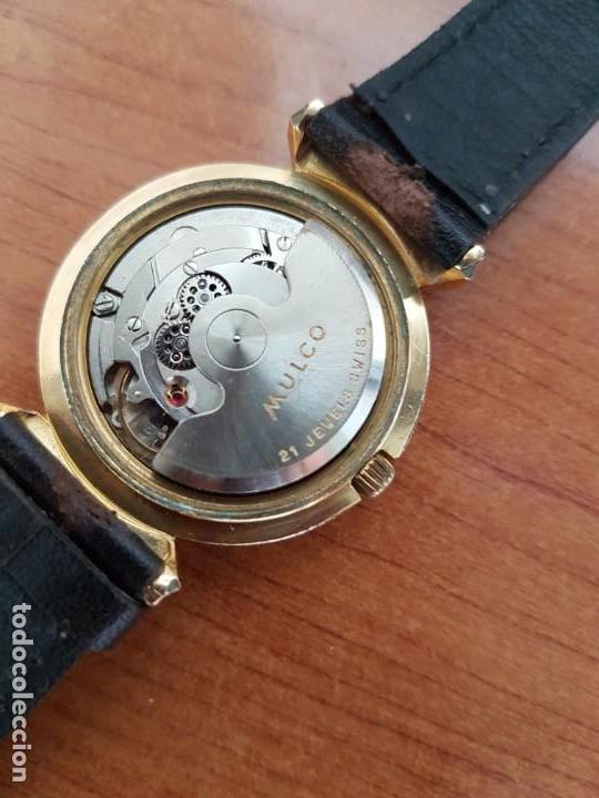 Relojes: Reloj caballero (Vintage) MULCO automático chapado de oro 10 micras, esfera negra, correa de cuero - Foto 15 - 171135540