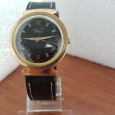 Relojes: RELOJ CABALLERO (VINTAGE) MULCO AUTOMÁTICO CHAPADO DE ORO 10 MICRAS, ESFERA NEGRA, CORREA DE CUERO. Lote 171135540