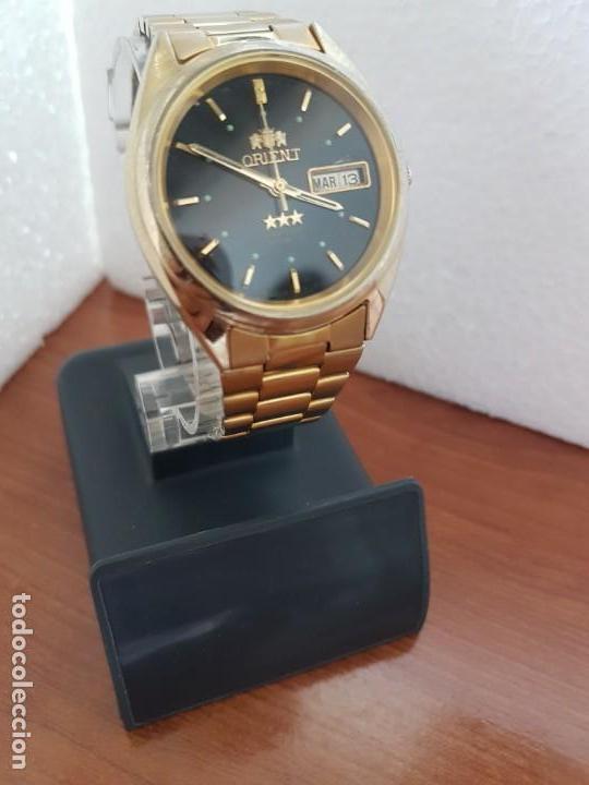 Relojes: Reloj caballero (Vintage) ORIENT automático chapado de oro esfera negra con doble calendario correa - Foto 5 - 171140918