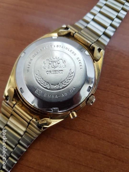 Relojes: Reloj caballero (Vintage) ORIENT automático chapado de oro esfera negra con doble calendario correa - Foto 8 - 171140918
