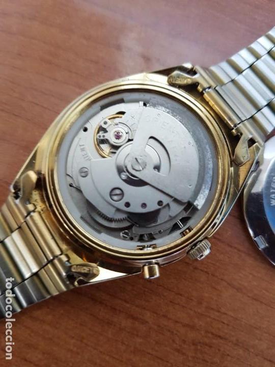 Relojes: Reloj caballero (Vintage) ORIENT automático chapado de oro esfera negra con doble calendario correa - Foto 10 - 171140918