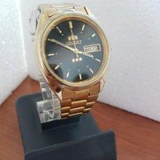 Relojes: RELOJ CABALLERO (VINTAGE) ORIENT AUTOMÁTICO CHAPADO DE ORO ESFERA NEGRA CON DOBLE CALENDARIO CORREA . Lote 171140918