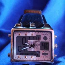Relojes: ESPECTACULAR RELOJ DE DISEÑO DE PULSERA QUARTZ, DOBLE DIAL. Lote 177283384