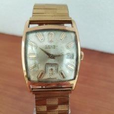 Relojes: RELOJ CABALLERO (VINTAGE) CAUNY CHAPADO ORO DE CUERDA, 17 RUBÍS, CORREA CHAPADA DE ORO TIPO FLEX . Lote 178270745