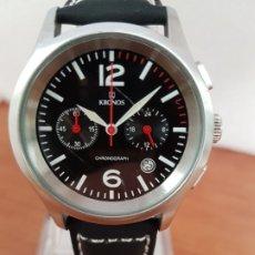 Relojes: RELOJ CABALLERO CRONOGRAFO KRONOS DE CUARZO EN ACERO, ESFERA NEGRA, CON SUBESFERAS, CORREA NEGRA . Lote 178305735