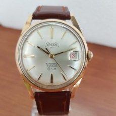 Relojes: RELOJ CABALLERO (VINTAGE) SPIDER AUTOMÁTICO CHAPADO DE ORO 10 MICRAS, ESFERA BLANCA, CALENDARIO. . Lote 178307536