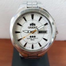 Relojes: RELOJ CABALLERO ORIENT AUTOMÁTICO DE ACERO CON TRES ESTRELLAS, CORREA DE ACERO ORIGINAL CON ANAGRAMA. Lote 192175303