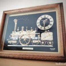 Relojes: PRECIOSO RELOJ DENTRO DE CUADRO CON LOCOMOTORA - RHYTHM QUARTZ STEAM LOCOMOTIVE - 25 X 20 CM. Lote 190613491