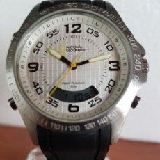 Relojes: RELOJ CABALLERO CUARZO NATIONAL GEOGRAPHIC, ANALÓGICO Y DIGITAL, CORREA DE SILICONA ORIGINAL NEGRA. Lote 190809202
