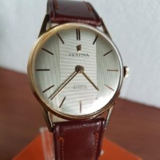Relojes: RELOJ CABALLERO (VINTAGE) FESTINA DE CUERDA MANUAL CHAPADO DE ORO EXTRAPLANO CON CORREA CUERO MARRÓN. Lote 190822672