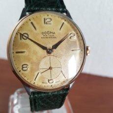 Relojes: RELOJ CABALLERO (VINTAGE) DOGMA PRIMA DE CUERDA MANUAL, CHAPADO DE ORO Y ACERO, CORREA CUERO VERDE. Lote 190824686