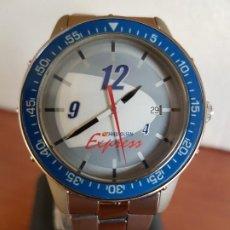 Relojes: RELOJ DE CABALLERO DE CUARZO MARCA TIMEX WÁTER 30 METROS CON CALENDARIO A LAS TRES, CORREA DE ACERO.. Lote 190983541
