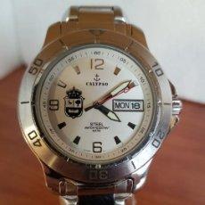 Relojes: RELOJ CABALLERO DE CUARZO CALYPSO ACERO CON DOBLE CALENDARIO, ESFERA BLANCA, CORREA ACERO ORIGINAL.. Lote 190990296