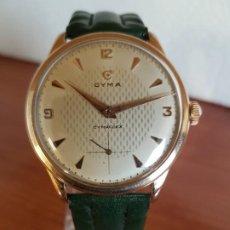 Relojes: RELOJ (VINTAGE) CYMA CYMAFLEX DE CABALLERO, ESFERA BLANCA, SEGUNDERO A LAS SEIS HORAS CHAPADO DE ORO. Lote 190992617