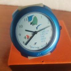 Relojes: RELOJ DE SEÑORA UNISEX (VINTAGE) BENETTON BY BULOVA DE ACERO CAJA COLOR AZUL RELOJ NUEVO DE STOCK. Lote 191202310