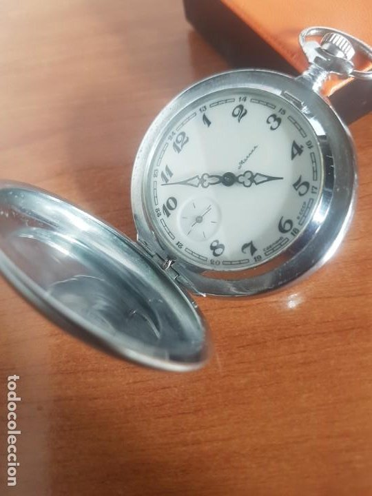 Relojes: Reloj de bolsillo Ruso marca Molnija con segundero a las 9 horas con caja de acero y repujada - Foto 5 - 191298983