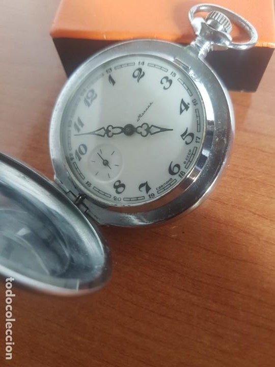 Relojes: Reloj de bolsillo Ruso marca Molnija con segundero a las 9 horas con caja de acero y repujada - Foto 13 - 191298983