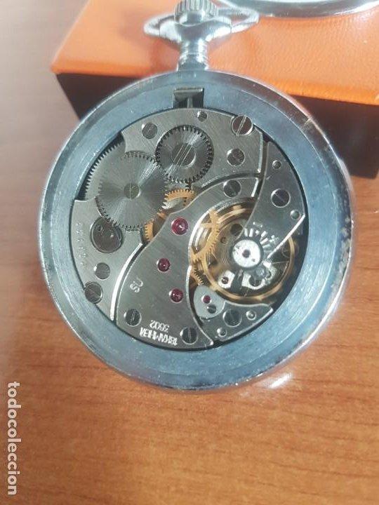 Relojes: Reloj de bolsillo Ruso marca Molnija con segundero a las 9 horas con caja de acero y repujada - Foto 14 - 191298983