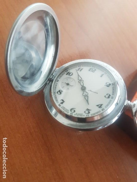 Relojes: Reloj de bolsillo Ruso marca Molnija con segundero a las 9 horas con caja de acero y repujada - Foto 15 - 191298983