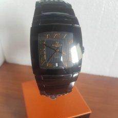 Relojes: RELOJ CABALLERO BLACK TOUCH DE CERÁMICA, SUIZO, CRISTAL ZAFIRO CON CORREA DE CUERO NEGRA SIN USO . Lote 191517341