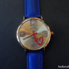 Orologi: RELOJ CORREA CUERO AZUL Y ACERO DORADO. GIORGIE VALENTIAN . ESFERA DORADA. QUARTZ. SIGLO XXI. Lote 193834996