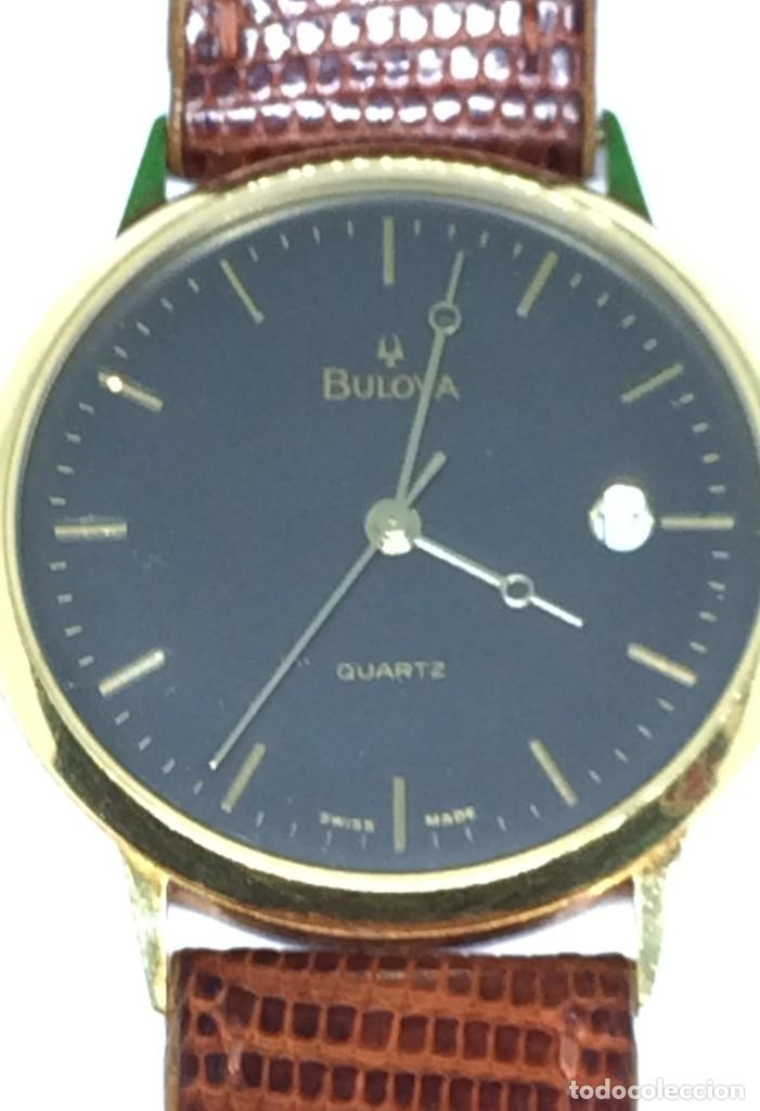 ORO 750 RELOJ DE ORO DE 18 KT, CUARZO BULOVA DORADO, FECHA PERFECTA COMO CAJA (Relojes - Relojes Actuales - Otros)