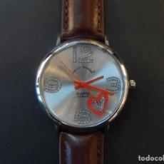 Relojes: RELOJ CORREA CUERO MARRON Y ACERO . GIORGIE VALENTIAN . ESFERA PLATEADA. QUARTZ. SIGLO XXI. Lote 194623698