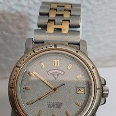 Relojes: RELOJ CERTINA DS TITANIUM 100 METROS SAPHIRE QUARTZ FUNCIONA. Lote 194716611