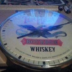 Relojes: RELOJ PARED PÙBLICIDAD WHISKEY BORBON HECHO POR PUVESA DE SEVILLA. Lote 195047565