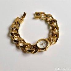 Relojes: GIRALUX BONITO RELOJ CON BANDA TIPO CADENA ESLABONES COLOR ORO - 18.CM LARGO. Lote 195507825