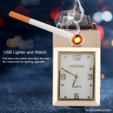 Relojes: RELOJ CON ENCENDEDOR DE CARGA USB SIN LLAMA. Lote 196487377