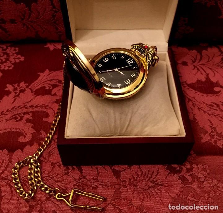 Relojes: RELOJ DE BOLSILLO CON LEONTINA CHAPADO EN ORO/PLATA CON DRAGÓN CHINO. - Foto 8 - 197481317